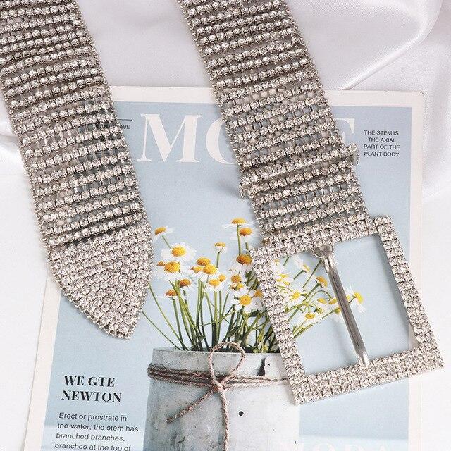 [LFMB]luxe brillant pleine strass incrusté femmes ceinture mode femme mariée large Bling cristal diamant taille chaîne ceintures 10