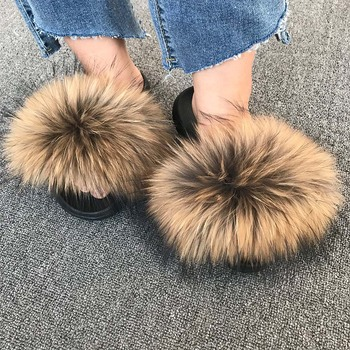 Summer Sexy Female Fox Fur Slippers Furry Flip-flops Woman Fluffy Slides Multi Color Sandals Fluffy Flip Flops  Size EVA Shoes