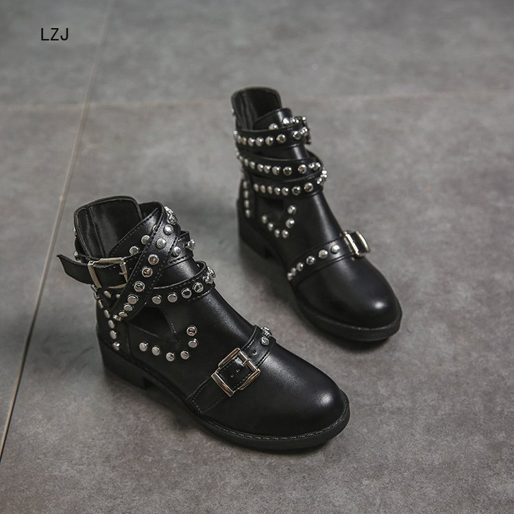 LZJ 2020 Buckle Ankle Boots For Women PU Leather Fashion Rivet Low Heel Shoes Women Motorcycle Boots Autumn Women Martin Boots 5