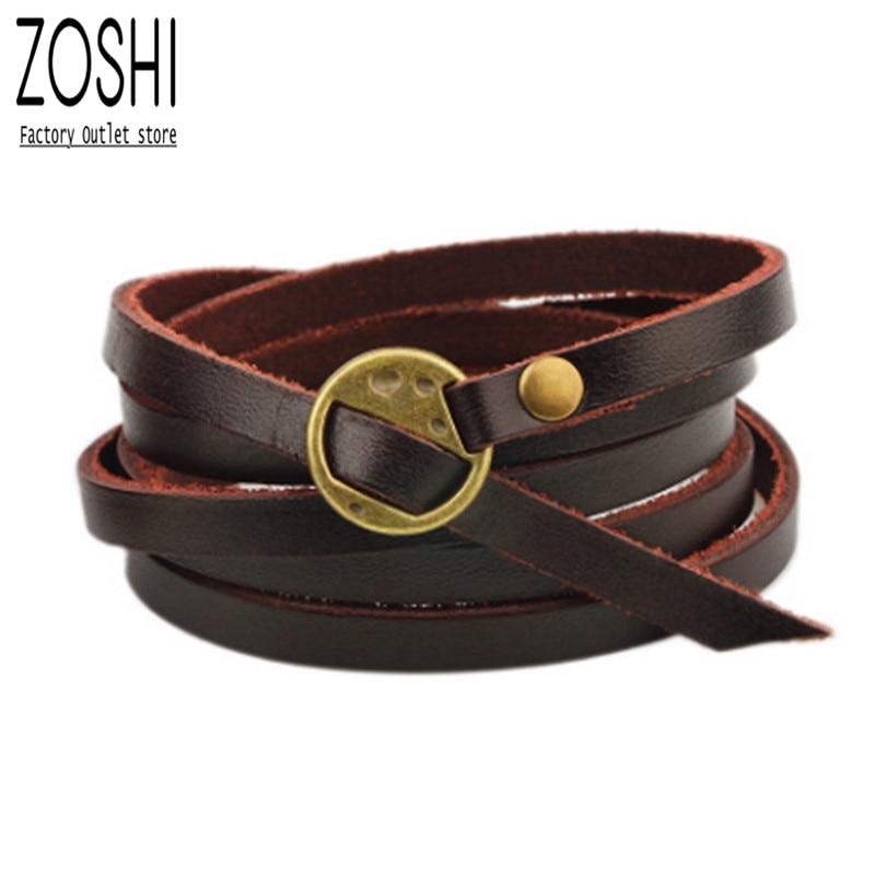 ZOSHI 2019 New Fashion Brown Leather Bracelet Leisure Retro Multi-layer Bracelet Ladies / Men Charm Style Bracelets Boho Jewelry