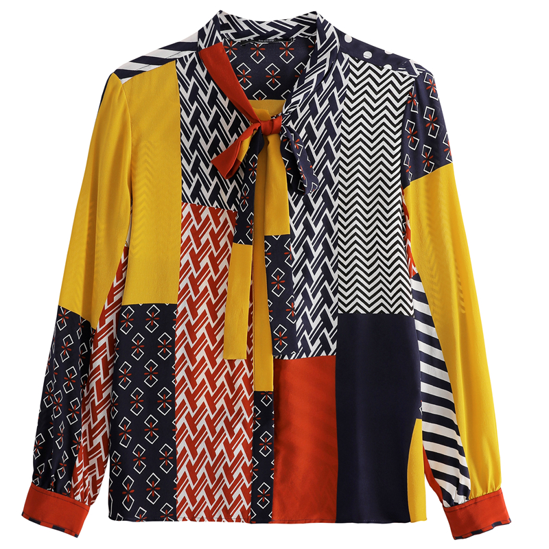 Fashion Print Blouses Women Bow Silk Shirts 2021 Autumn Long Sleeve Shirt Women Harajuku Shirts Blusas Mujer De Moda 10739 6