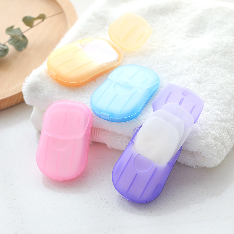 1 Box/20pcs Portable Washing Hand Wipes Bath Travel Scented Slice Sheets Foaming Box Paper Soap Hand Sanitizer Holder Soap