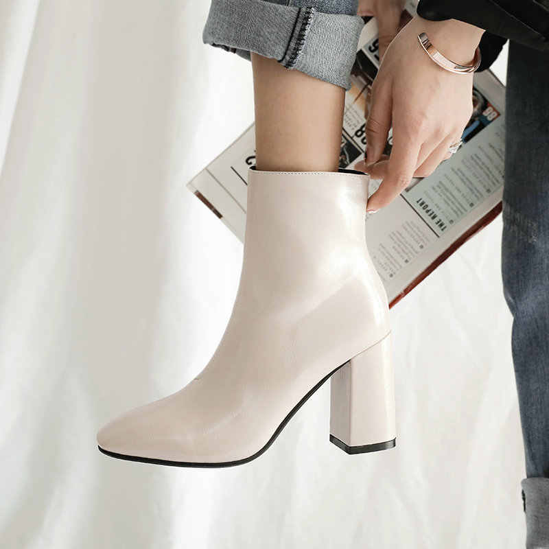 2019 herbst Frauen Stiefel Faux Leder Super High Heel Stiefeletten Fashion Square Toe Zipper Winter Stiefel Schwarz Weiß