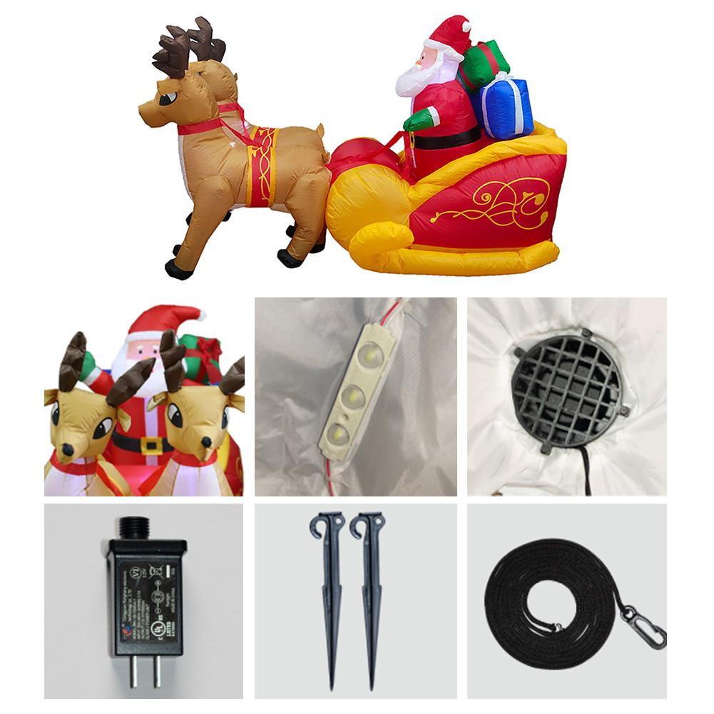 220cm Giant Inflatable Santa Claus Double Deer Sled Blow Up Fun Toys For Child Christmas Gifts Halloween Party Prop LED Lighted - 4