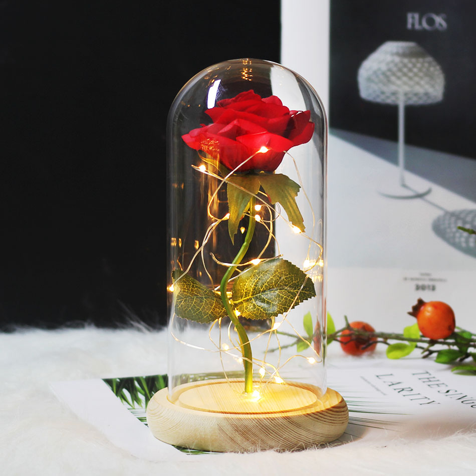 Красота и с рисунком из мультфильма «Красавица и Чудовище» в виде красных роз с яркие светодиодные светильник в Стекло купол для Свадебная вечеринка, подарок на день Святого Валентина, подарок на день матери - Цвет: Wood red