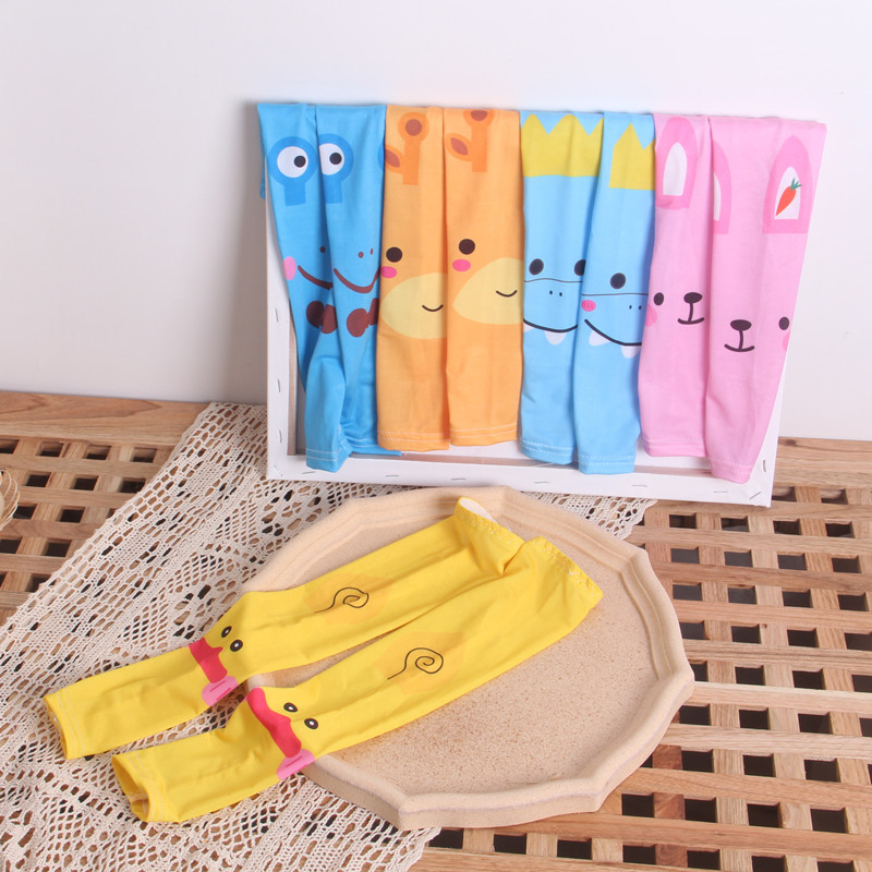 Children Kids Arm Sleeves Sun UV Protection Summer Outdoor Cartoon Animal Thin Long Ice Silk Arm Sleeves Child Boys Girls