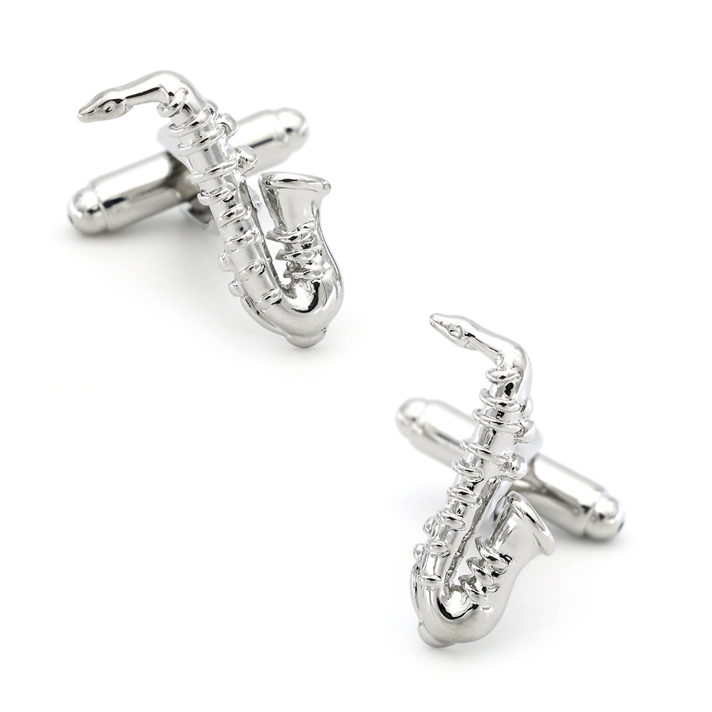 Saxophone Cufflinks For Men Music Design Quality Brass Material Silver Color Cuff Links Wholesale&retail