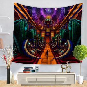 Image 3 - Cartoon Watercolor Painting Cloth Psychedelic Tapestry Wall Hanging Polyester Thin Couch Blanket Art Wall Carpets Yoga Shawl Mat