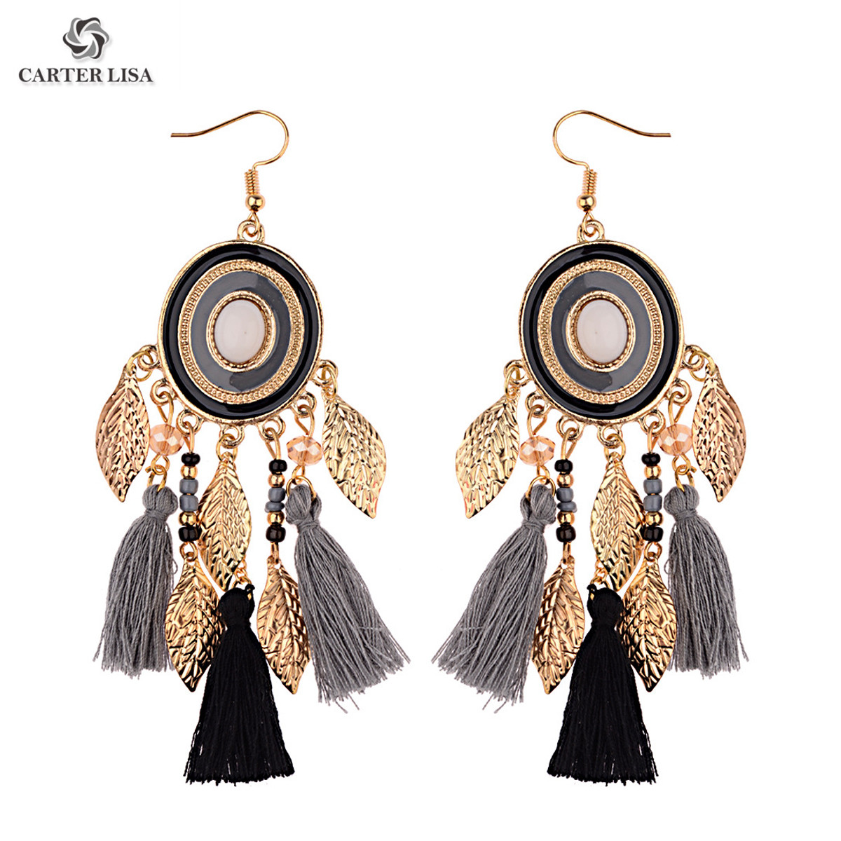 CARTER LISA Colorful Bohemian Statement Leaf Tassel Earrings Jewelry Wholesale Vintage Ethnic Crystal Long Earrings Oorbellen