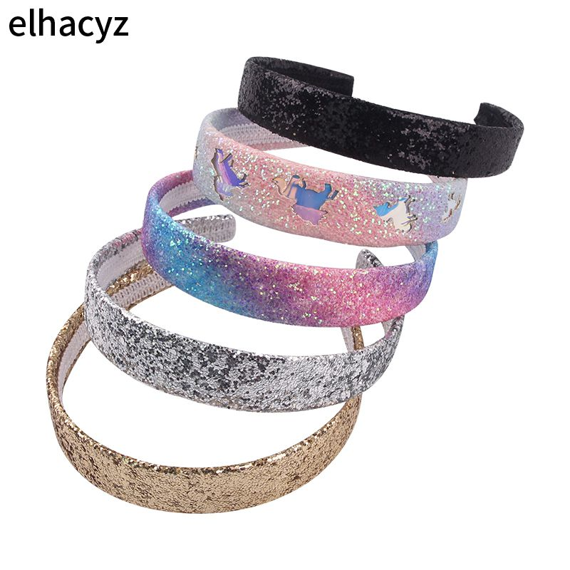 1PC 2020 New Glitter Sequins Hairbands Rainbow Colors Hollowed Unicorn Headbands for Girls Sweet Headwear Chic Hair Accessories