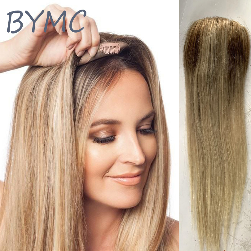 Парик для женщин, Омбре, блонд, прямые волосы, топ, европейские волосы remy, один кусок, волосы Топпер, моно зажим, парик для меньших волос для женщин
