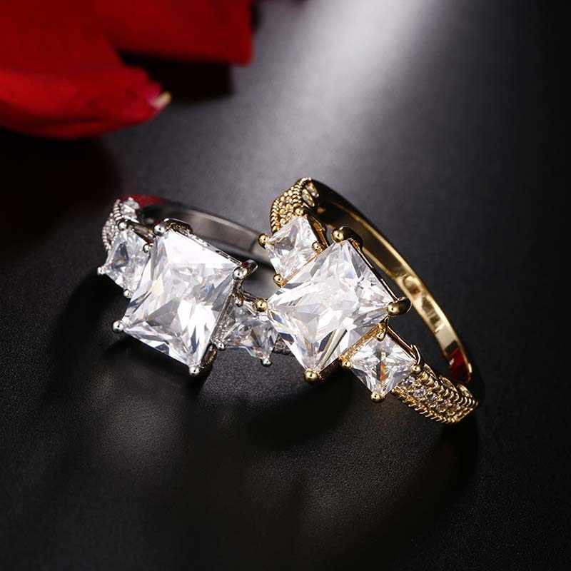 3 สีดอกไม้แหวนแหวนพราวสีเขียวสีชมพูสีชมพูเครื่องประดับ CZ สำหรับงานแต่งงาน anel anillos aneis