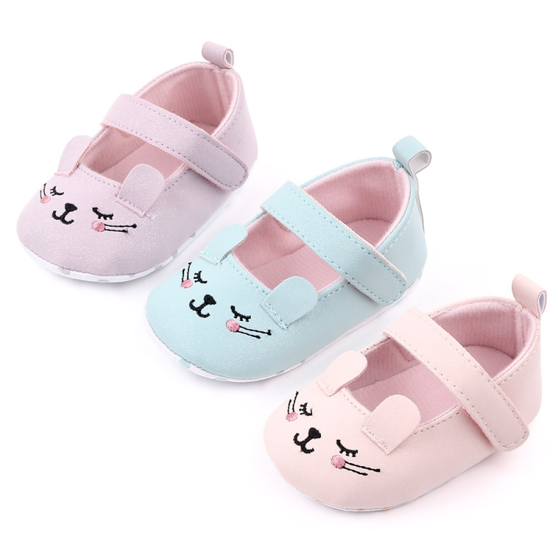 Baby Girl First Walkers Cute Cartoon Cat Baby Shoes Toddler Girls Crib Shoes Soft Sole Anti-slip Pu Leather Shoes