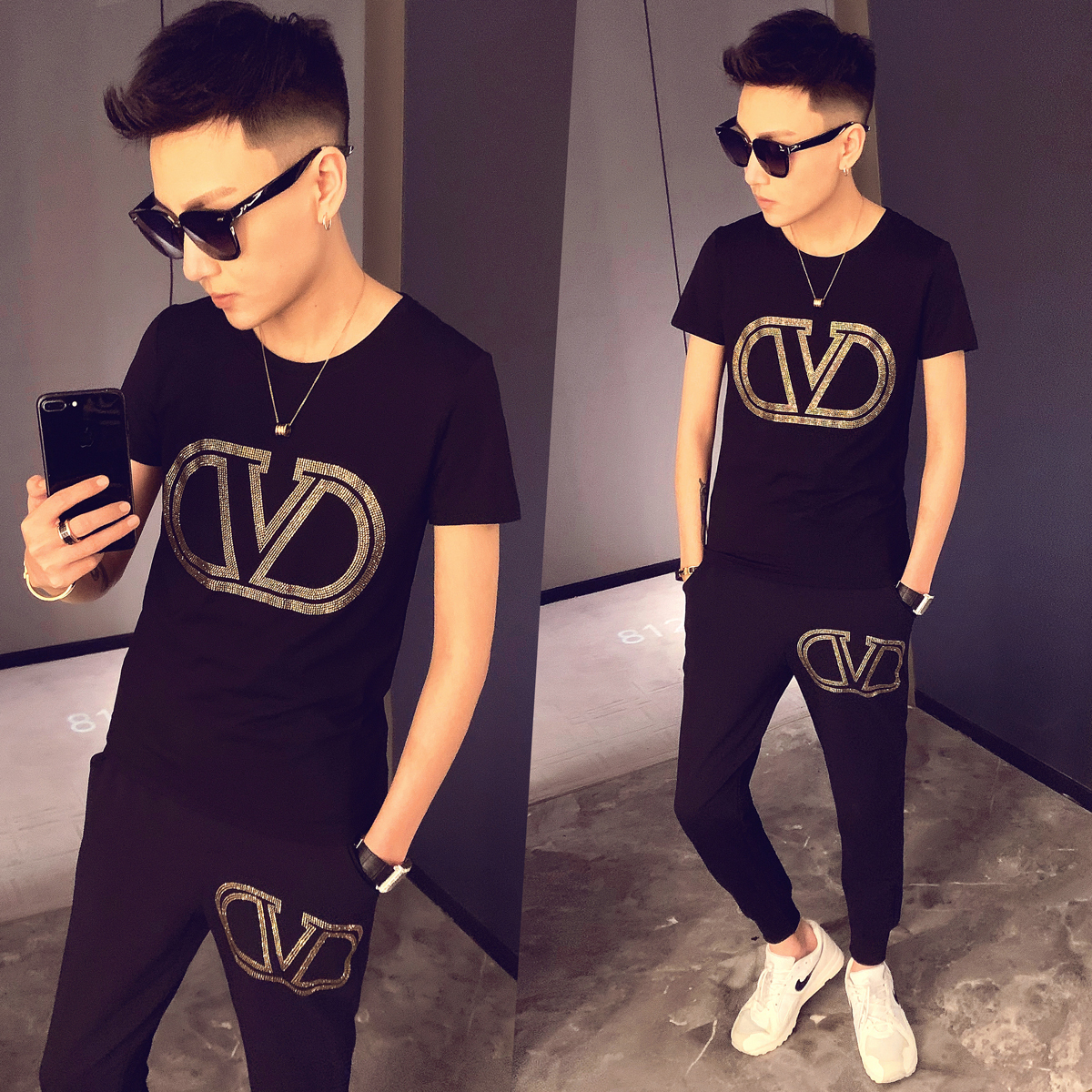 High Quality Tracksuit Top + Pant Men Summer Personality Printing 2 Piece Set Men Slim Fit Outfits Men Set Short Sleeve T Shirt