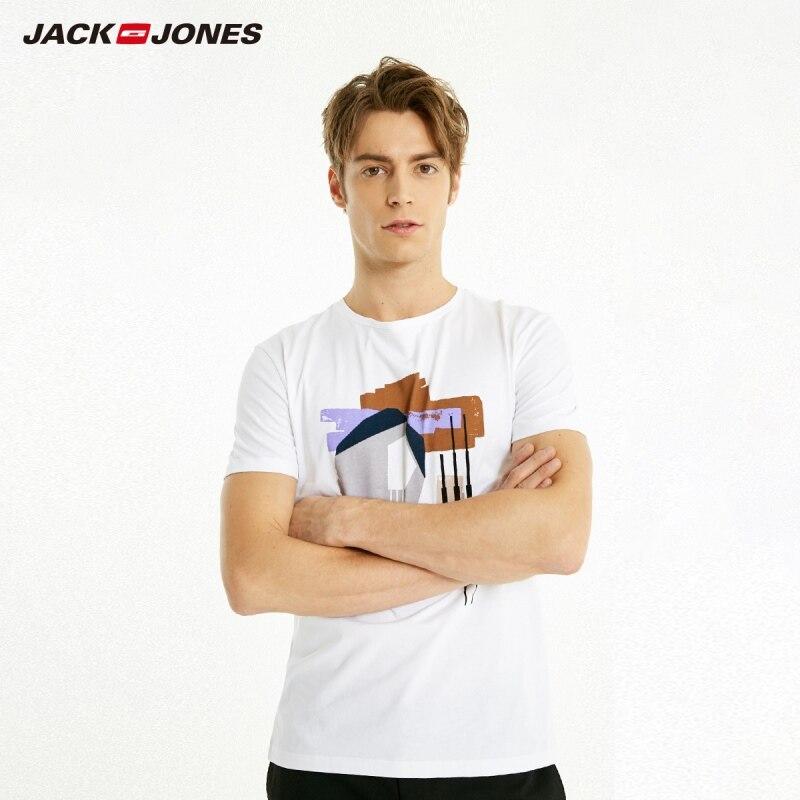 JackJones Men's Spring Slim Fit 100% Cotton Spliced Abstract Pattern Short-sleeved T-shirt|Streetwear 219101535