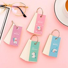 Cartoon Mini Rainbow Unicorn Notebook Ring Buckle Blank Word Book Card Notepads Stationery Gift Cute Memo Pad Carry-on Word Book(China)