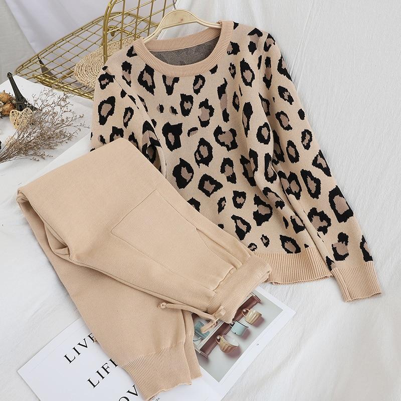Fashion Retro Women Knitted Suits Leopard Long Sleeve O-neck Sweater + Lace Up Waist Pocket Harem Pants Korean Sets