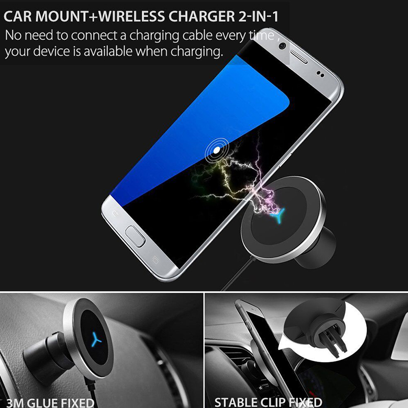 For iPhone X XR 8 Wireless Car Charger For Xiaomi Mi 8 Mi 9 Charging Station Dashboard QI Wireless Charger Stand Air Vent Holder in Mobile Phone Chargers from Cellphones Telecommunications