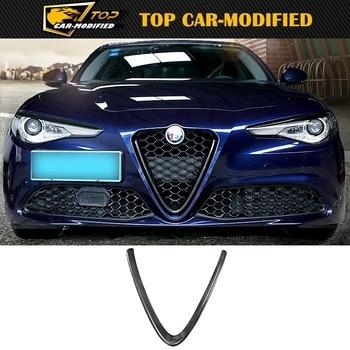 Free shipping logo cover accessories 100% carbon fiber car head grilles V frame decoration trim patch for Alfa Romeo Giulia