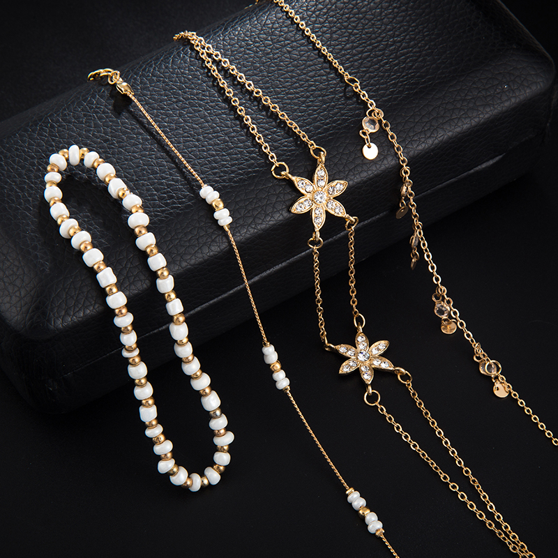 Bohemian jewelry Fashion Gold Chain Ankle Bracelet for Women Star Pendant Handmade Chain Anklet 4pcs/Lot Foot Jewellry 5