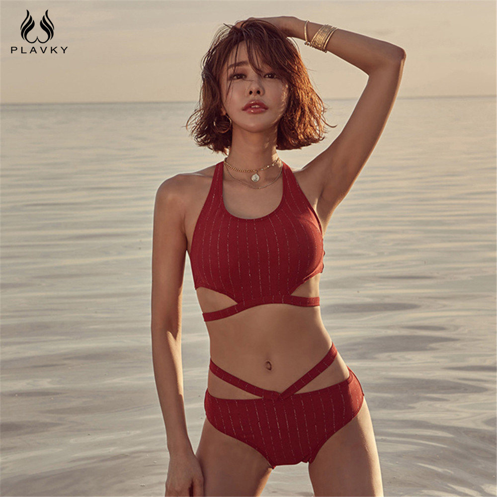 Sexy Red High Waist Bandage Bikini Set 2020 Swimsuit Women High Neck Swimwear Beach Wear Swim Bathing Suit