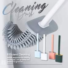 Toilet Brush Long Handle Silicone Toilet Cleaner Brush with Holders Household Bathroom Cleaning Kit Soft Bristles Washroom Brush