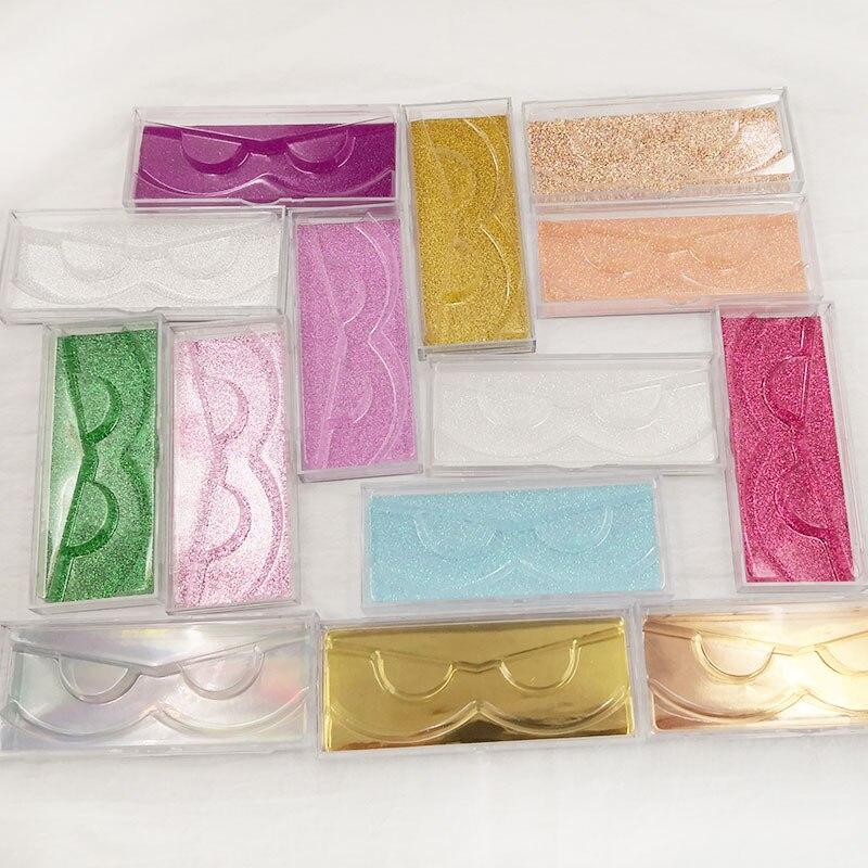 20pcs Acrylic False Eyelashes Packaging Box Custom Logo Fake 3D Mink Lashes Boxes Faux Cils Transparent Plastic Case With Trays