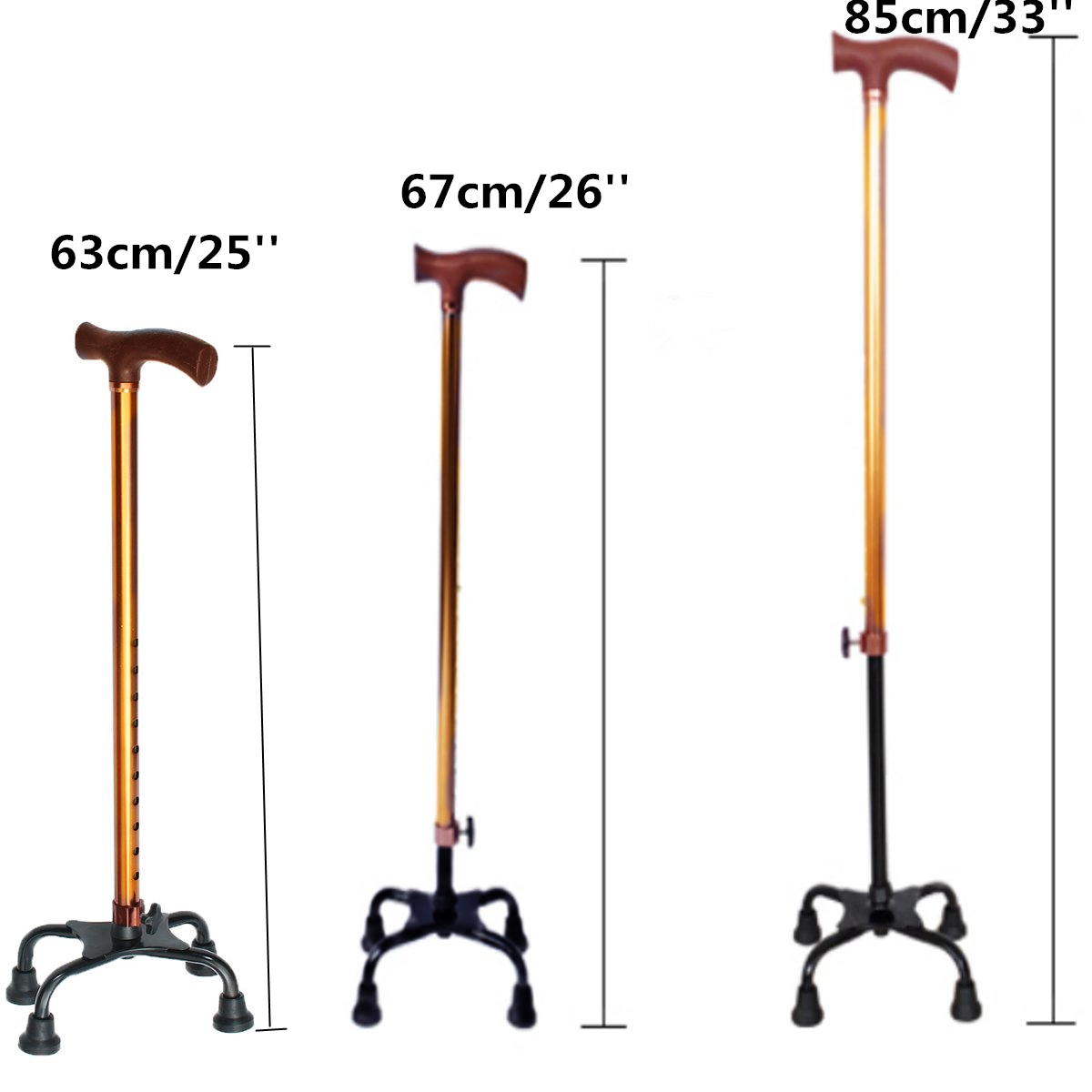 Aluminium Safety Old Man Walking Stick Telescopic Canes 4 Heads Legs Crutch T Handle Hiking Elderly Walk Gift For Mother Father