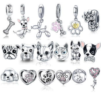 925 Sterling Silver A Dog 's Story Poodle Puppy French Bulldog Beads Charm Fit BISAER Charms Original Bracelet - discount item  30% OFF Fine Jewelry