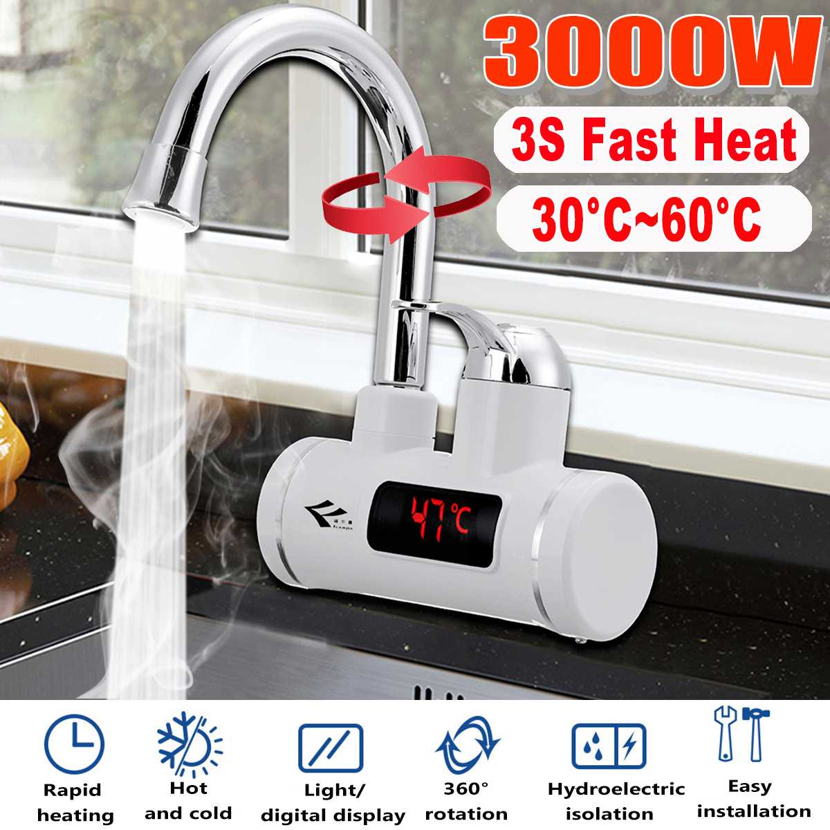 3000W électrique cuisine chauffe-eau robinet instantané eau chaude robinet chauffage froid robinet chauffe-eau instantané sans réservoir