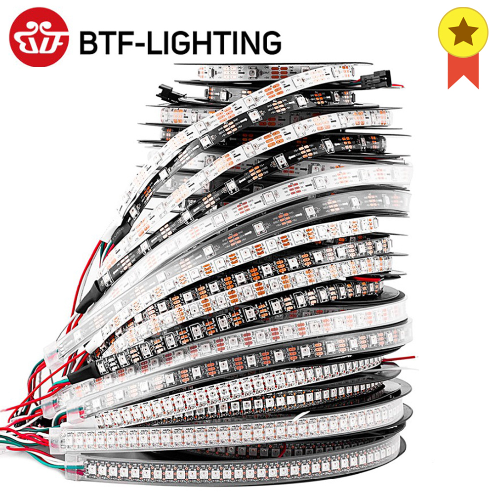 1m 2m 4m 5m WS2812B Led Lights WS2812 RGB Led Strip Light Individually Addressable Led Light Strip Black White PCB IP30 65 67 5V