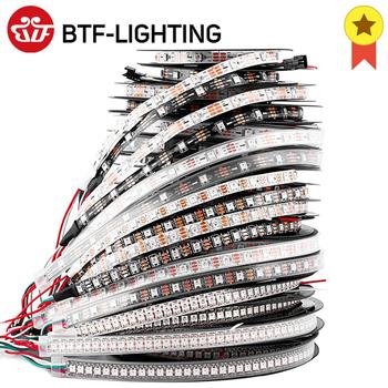 Taśma LED WS2812B WS2812 RGB 1m 2m 4m 5 m adresowalna czarna biała PCB IP30 65 67 5V tanie i dobre opinie BTF-LIGHTING CN (pochodzenie) ROHS SALON 50000 Taśmy Epistar Smd5050 30 60 74 96 100 144 30 60 74 96 100 144 pixels leds m
