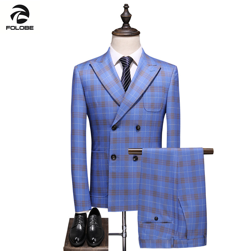 FOLOBE 2020 New Men Suit High Quality Gentleman Plaid Suit Set Wedding Host Party Elegant Blue Three Piece Classic Men's Suit