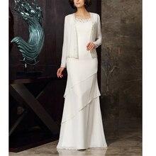 Excellent White Chiffon Women's Dresses A-line Beading Full-Length Vintages Plus