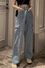 High Waist Loose Straight Side Big Pocket Cargo Fashion Boyfriend Pant Women Jean Korean Denim Summer Baggy Streetwear VintageJeans