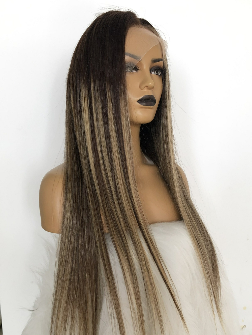 QueenKing hair Full Lace Wig 150% Density European Cami Color Balayage Ombre Wigs T4/4/24 Remy hair
