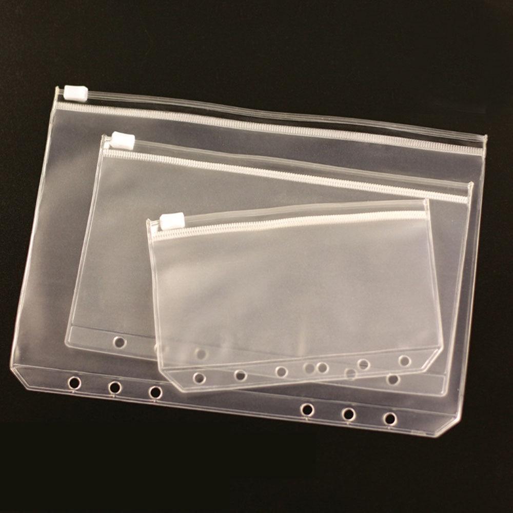 A5/A6/A7 Size Plastic Zip Lock Envelope Zipper Wallet Insert Refill Organiser Folder Spiral Plan Bag Storage File Card Pack