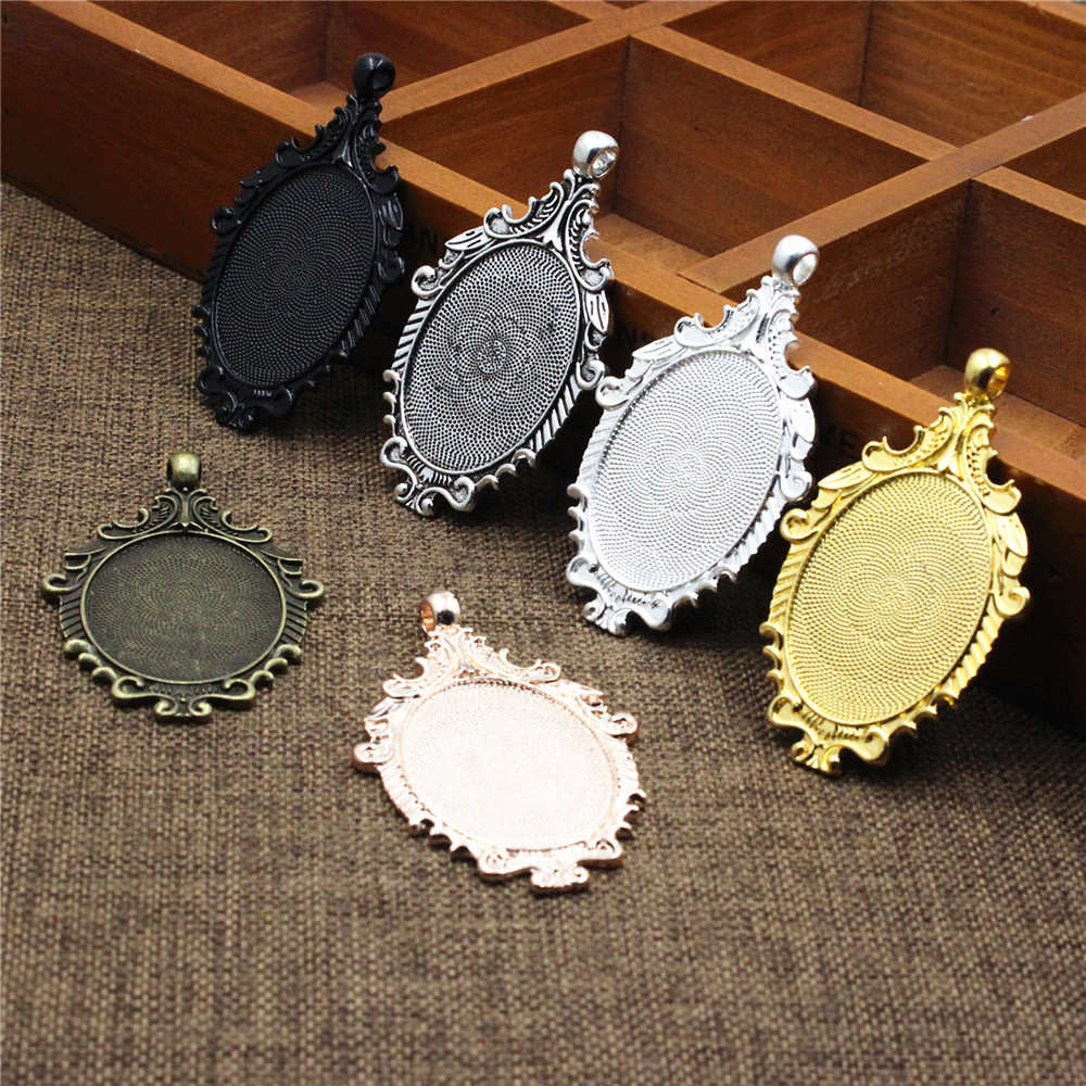 LOT Oval Trays Cabochon Base Setting Blank Bezel Frame Cameo DIY Pendants