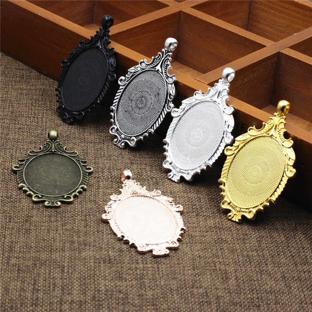 antique Bronze bezel-Oval Pendant Trays-cameo bezels-Cameo Setting Charm 5pcs