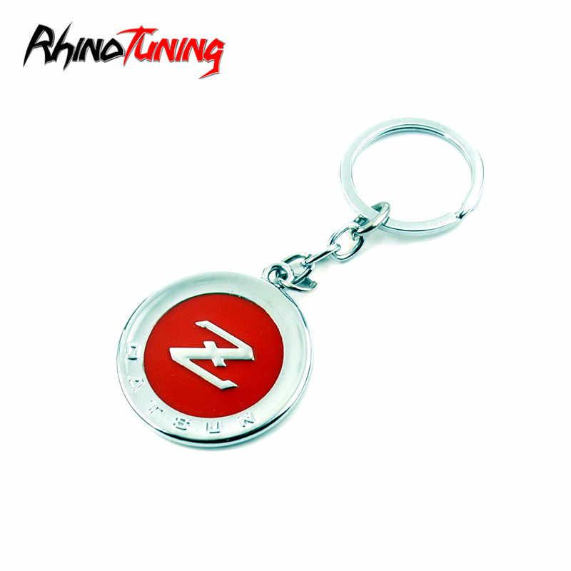 Key Rings Rhino Tuning Japan Auto Datsun Z Fairlady 240Z Car Keyring Vintage Styling Nismo Metal Round Key Chain # 330 Color Name: Black