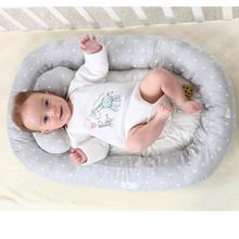 Cotton Baby Nest Bed Baby Bassinet Bumper Newborn Nest Grey Baby Crib For Kids Portable Washable Crib Travel Bed Infant Nest
