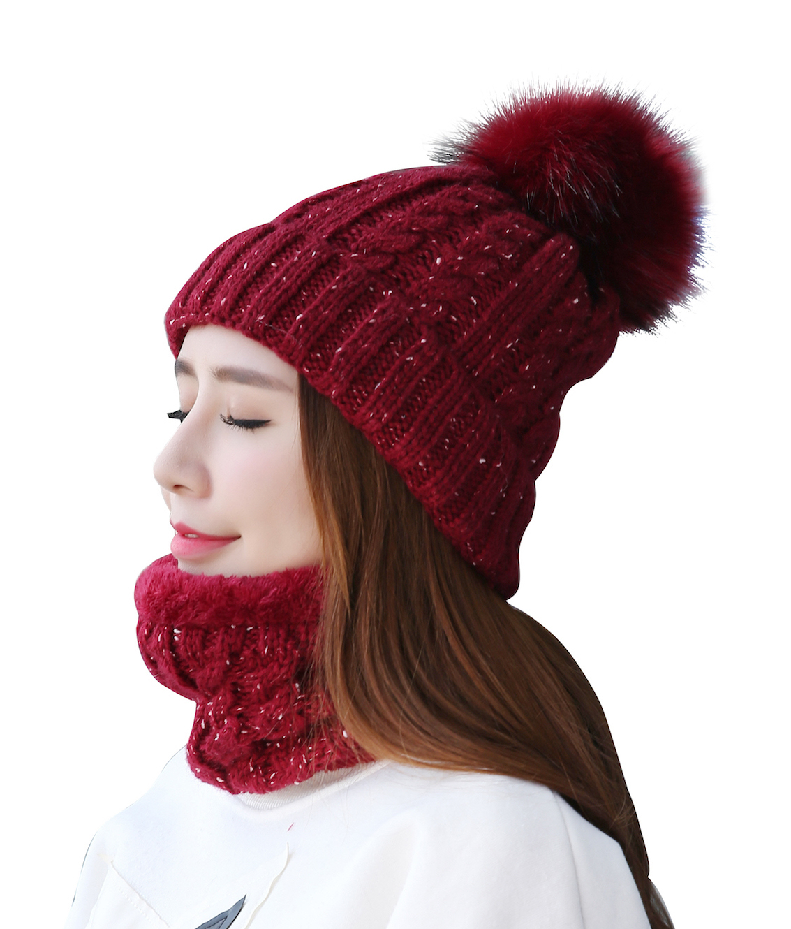 Connectyle Womens Winter Beanie Hat Soft Fleece Lined Circle Scarf Set Thick Warm Fuzzy Acrylic Knit Hat Neck Scarves