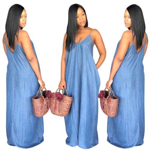 Plus Size Ladies Boho Backelss Summer Long Denim Maxi Dress Women Jean Dresses