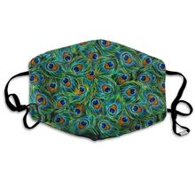 Reusable-Mask Peacock Half-Face-Mouth-Mask Green-Fabric Washable Women with Cotton