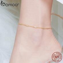 Bamoer золотой цвет простой серебряный ножной браслет для женщин 925 пробы серебряный браслет для ног ювелирные изделия Модные аксессуары SCT014