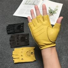 Fitness men's sheepskin Half Finger Gloves Black Yellow coffee riding motorcycle Fingerless comfortable non slip deerskin gloves