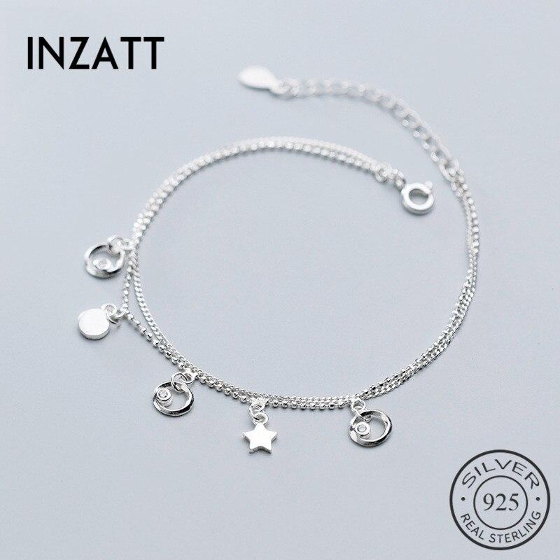 INZATT réel 925 en argent Sterling géométrique Zircon rond Double chaîne Bracelet pour les femmes de charme bâton à la mode bijoux fins 2019