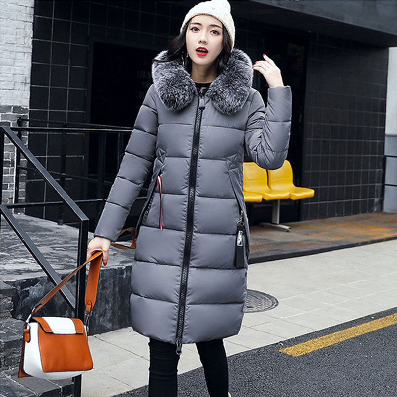 Vogue Letter Down Coat Women Winter Hooded Thicken Long Warm Slim Down Jackets Long Sleeve Zipper Outwear Ladies Faux Fur Collar