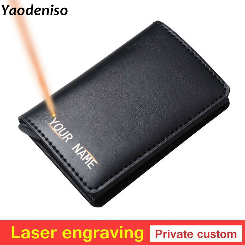 Laser Engraving Men Credit Card Holder Blocking Rfid Wallet Leather Unisex Security Information Aluminum Metal Purse Gift