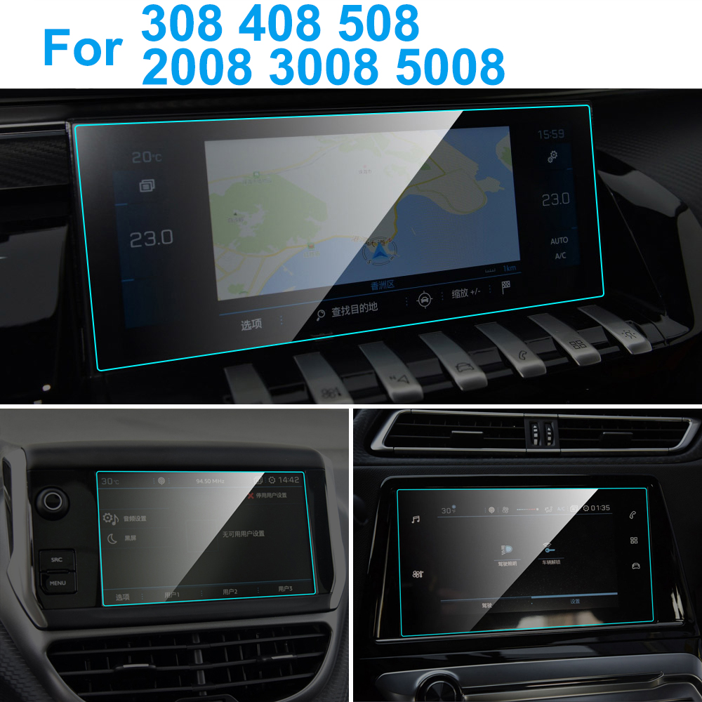 For Peugeot 308 408 508 2008 3008 5008 Car GPS Navigation Screen Protector Auto Interior HD Clear Tempered Glass Protective Film